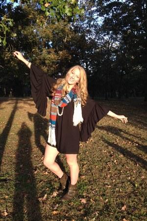 scarf - brown boots - dark gray dress