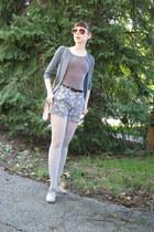charcoal gray H&M shorts - silver kunert tights - bubble gum Givenchy sunglasses