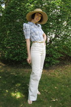 dark khaki straw hat joe fresh style hat - gold braided H&M belt - periwinkle H&
