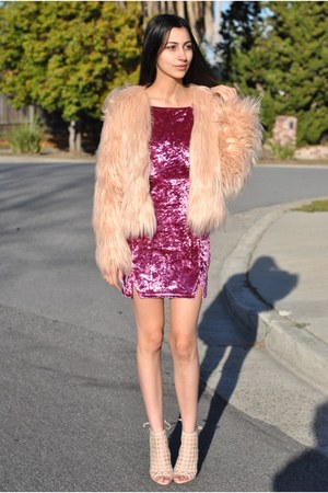 light pink fur coat makemechic coat - magenta velvet dress LOVE STORY dress