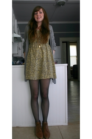 Anthropologie dress - Gap sweater - thrifted shoes - thrifted necklace