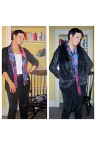 black faux fur gilet Topshop jacket - black leather jacket Oasis jacket