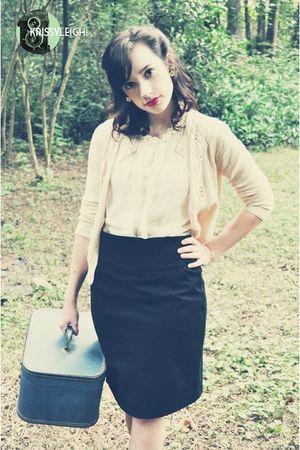 pink Forever21 cardigan - white Target blouse - black banana republic skirt - bl