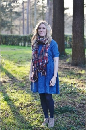 brown shoes - ruby red Topshop boots - blue denim asos dress - plaid scarf