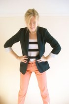navy fitted Topshop blazer - white striped H&M top