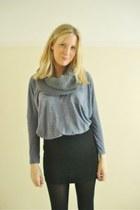 violet baggy Topshop top - black bodycon H&M skirt