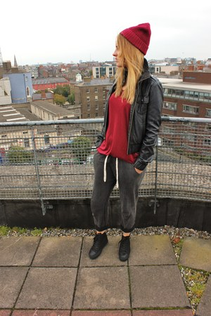 Topshop pants - Cheap Monday hat - burgandy sheer Zara top