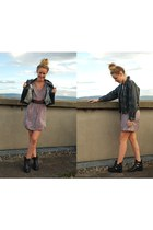 leather vintage jacket - loose Zara dress