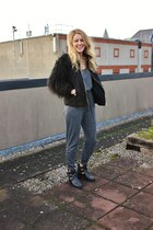 black Topshop boots - black furry black Zara coat - green Zara necklace