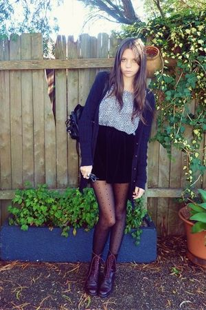 brown boots - black tights - black skirt - blue blouse - black cardigan - black