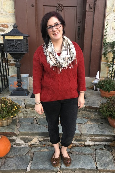 gray Levis jeans - ruby red Old Navy sweater - white Van Heusen scarf