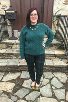 green baublebar necklace - teal thrifted vintage sweater