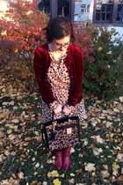ruby red vintage boots - beige Target dress - brown Reed x Kohls bag