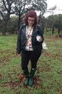 Army-green-hunter-boots-black-forever-21-jacket-cream-toms-bag