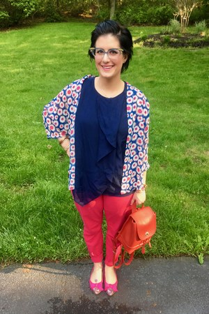 sky blue Hunt & Orchard necklace - hot pink Gap pants - navy 31 Phillip Lim top