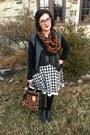Black-walmart-boots-white-francescas-dress-brown-dsw-scarf