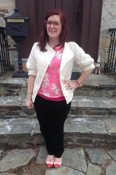 white BCBG blazer - bubble gum Anthropologie blouse - hot pink H&M top