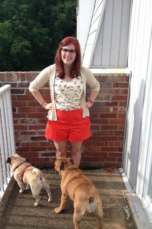 carrot orange Anthropologie shorts - ivory Anthropologie top
