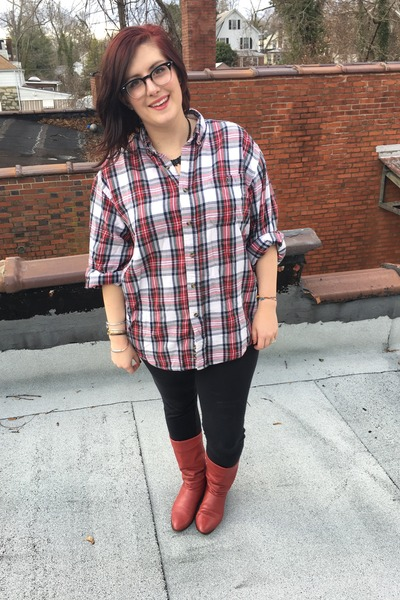 red vintage boots - navy Walmart leggings - red thrifted vintage top
