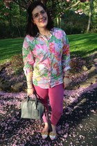 white Lilly Pultizer for Target blouse - hot pink Gap jeans