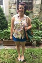 peach vintage blouse - army green Dooney & Bourke bag - blue Walmart shorts