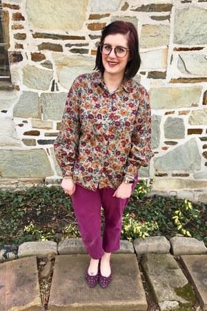 magenta vintage flats - magenta Target pants - tan LLBean blouse
