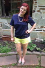 Yellow-cotton-on-shorts-navy-vintage-blouse-gold-baublebar-necklace