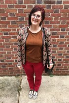 gold Charming Charlies necklace - brown thrifted vintage cardigan