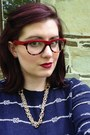 Ruby-red-loft-jeans-navy-old-navy-sweater-ruby-red-bonlook-glasses
