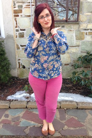 hot pink Gap jeans - white Anthropologie necklace - blue thrifted top