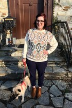 navy Gap pants - light brown Target boots - eggshell thrifted sweater