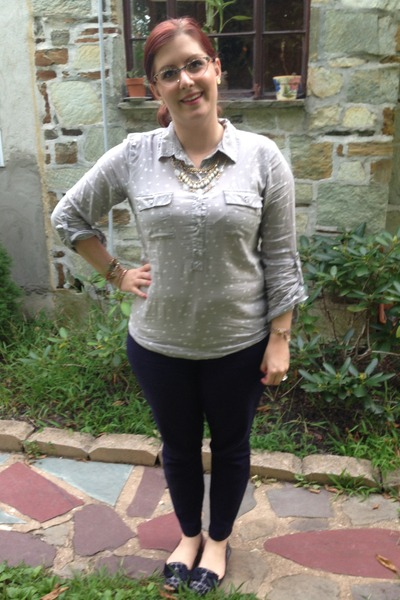 navy Gap pants - heather gray Old Navy blouse - gold Anthropologie necklace