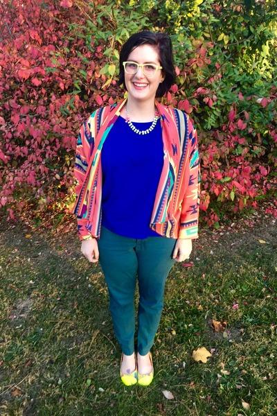 yellow Ell & Emm necklace - green Target pants - blue LC Lauren Conrad top