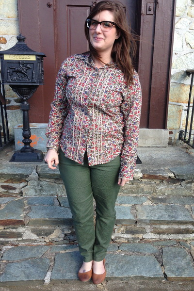 brown Target flats - olive green Gap pants - tan Ralph Lauren blouse