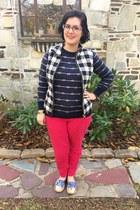 navy Shop Hopes vest - blue Old Navy sweater - red Faniel glasses