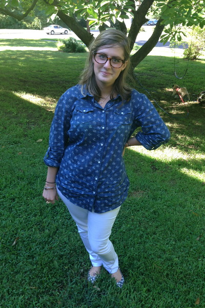 white cotton on jeans - blue thrifted blouse - light brown proopticals glasses