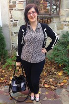 silver thrifted blouse - black thrifted jeans - black Adam Lippes for Target bag