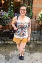 black FIT Book Store bag - mustard H&M shorts - white vintage top