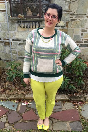 yellow Ell & Emm necklace - lime green romwe sweater