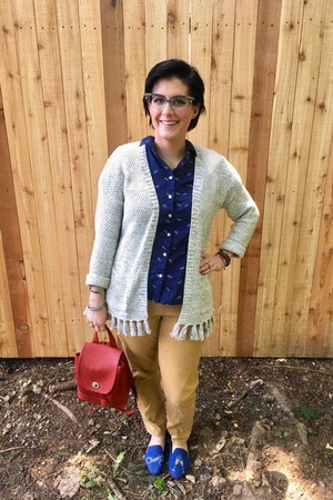 blue zenni optical glasses - silver kohls cardigan - navy thrifted top
