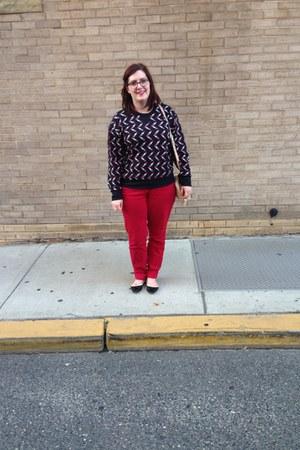 red Loft jeans - beige Dooney & Bourke bag - black JCPenney top