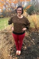 orange Faniel glasses - red Loft pants - brown vintage top - gold gift necklace