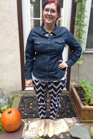 navy talbots blouse - white Anthropologie top - turquoise blue firmoo glasses