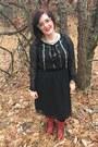 Red-vintage-boots-black-altuzarra-for-target-dress-gold-bonlook-glasses