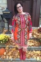 red vintage boots - carrot orange sams club dress - light brown JCrew belt