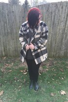 black Aldo boots - white LLBean jacket - white Sharkies Closet on Instagram top