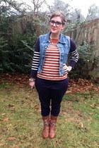 blue Polo Ralph Lauren vest - brown Spring boots - carrot orange Jcrew sweater
