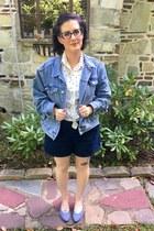 navy asos jacket - navy k lab shorts - white vintage blouse