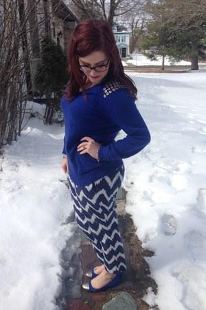 blue Michael Kors sweater - deep purple BonLook glasses - blue Old Navy pants