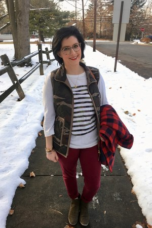forest green Jcrew vest - forest green Target boots - brick red Walmart jeans